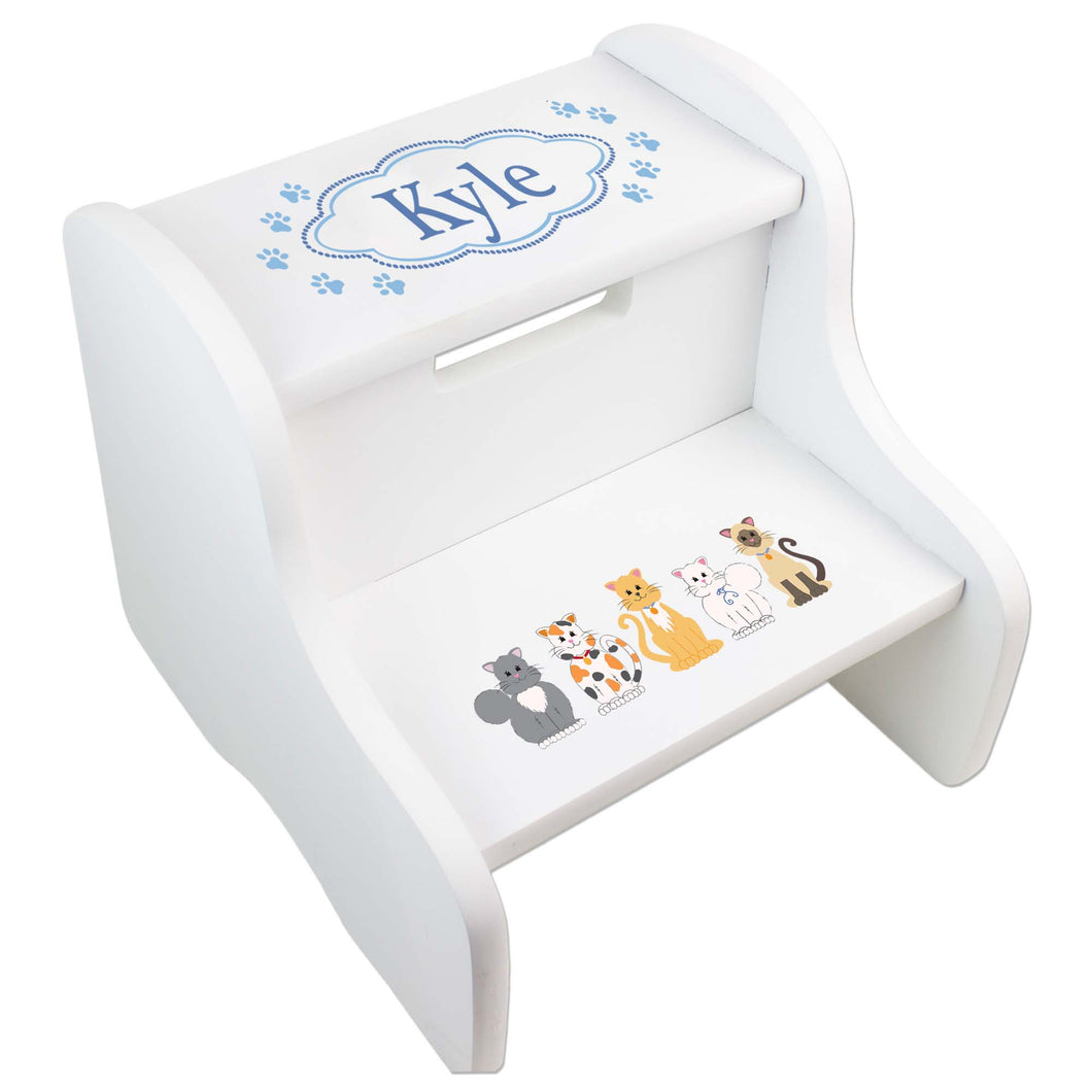 Personalized Blue Cat White Two Step Stool
