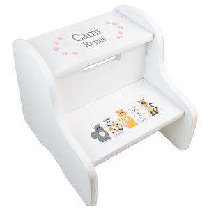 Child's White Cats Two Step Stool