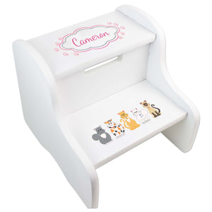 Personalized Pink Cats Natural Two Step Stool
