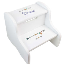 Personalized Tribal Arrows Boy White Two Step Stool