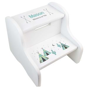 Child's White Teepee Two Step Stool