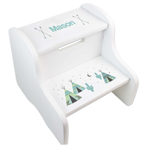 Personalized Teepee Aqua Mint White Two Step Stool