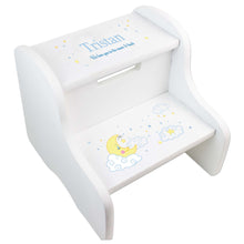 Child's White Moon And Stars Two Step Stool