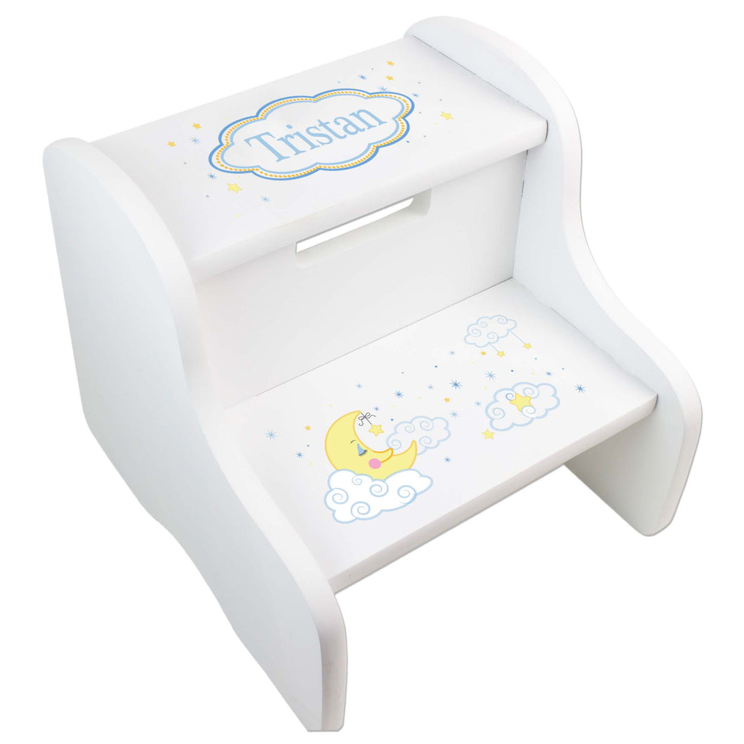 Personalized White Step Stool With Moon And Stars Design