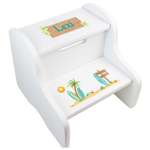Personalized White Step Stool With Surf'S Up Design