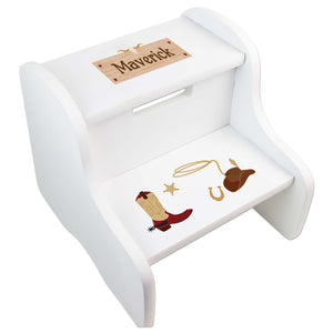 Personalized White Step Stool With Wild West Design
