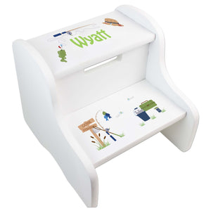 Personalized Gone Fishing White Two Step Stool