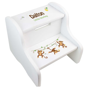 Personalized Monkey Boy White Two Step Stool