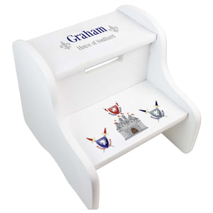 Child's White Medieval Castle White Two Step Stool