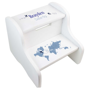 Child's White Blue World Map White Two Step Stool
