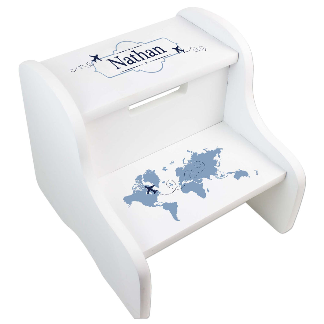 Personalized World Map Blue White Two Step Stool