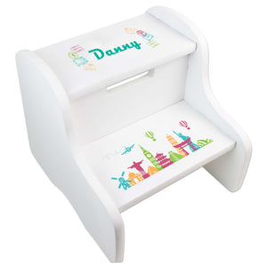 Personalized World Travel Pink White Two Step Stool