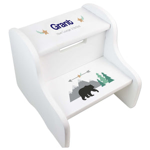Personalized Mountain Bear White Two Step Stool