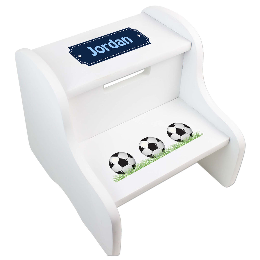 Personalized Soccer Balls White Two Step Stool
