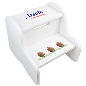 Personalized Footballs White Two Step Stool
