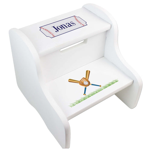 Personalized Baseball White Two Step Stool
