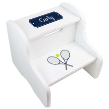 Personalized Tennis White Two Step Stool