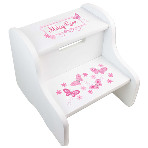 Personalized White Step Stool With Pink Butterflies Design
