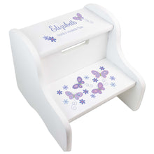 Lavender Butterflies White Two Step Stool