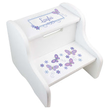 Personalized White Step Stool With Lavender Butterflies Design