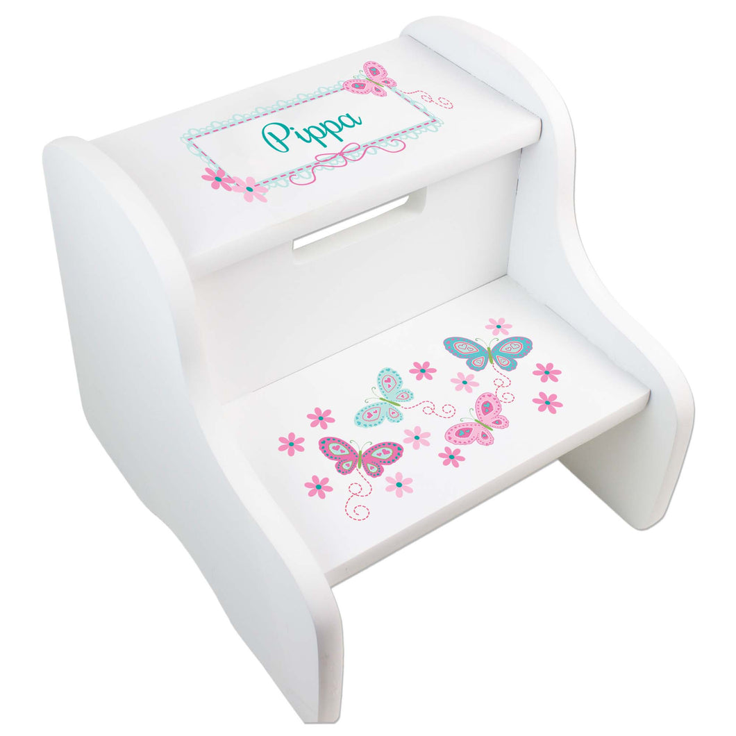 Personalized White Step Stool With Aqua Butterflies Design