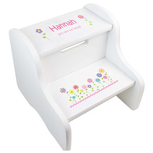 Personalized Stemmed Flowers White Step Stool