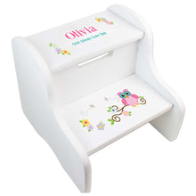 Personalized Owl Two Step Stool White