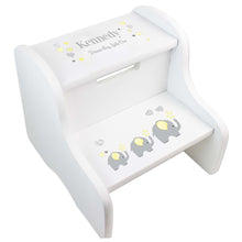 Yellow Elephant White Two Step Stool