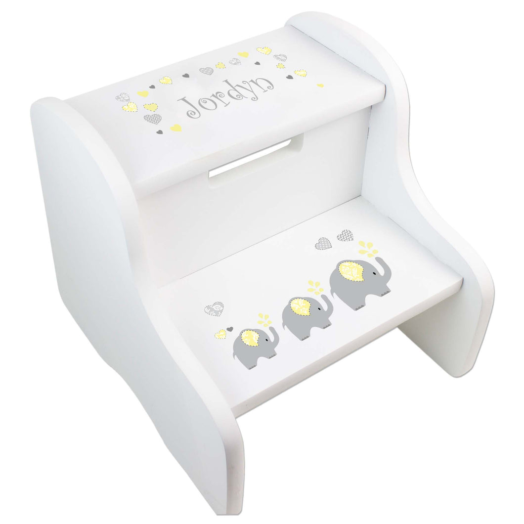 Personalized Yellow Elephants White Two Step Stool