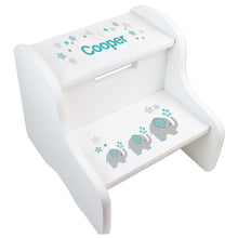 Personalized Elephant Boy White Step Stool