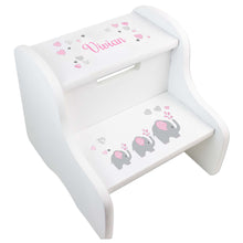 Personalized Elephant Girl White Stool