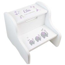 Lavender Elephant White Two Step Stool