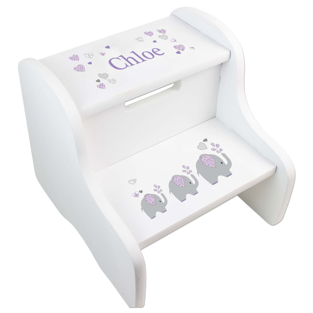 Personalized Lavender Elephant White Two Step Stool
