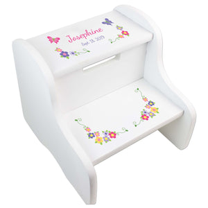 Bright Butterfly Garland White Two Step Stool