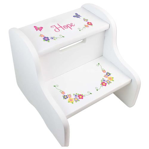 Personalized Butterfly White Step Stool
