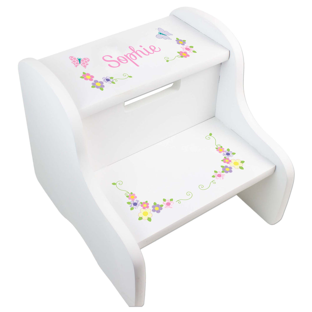 Personalized Pastel Butterfly Garland White Two Step Stool