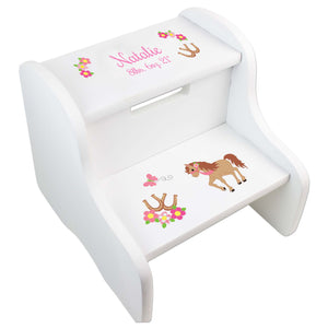 Girl's Prancing Pony White Two Step Stool