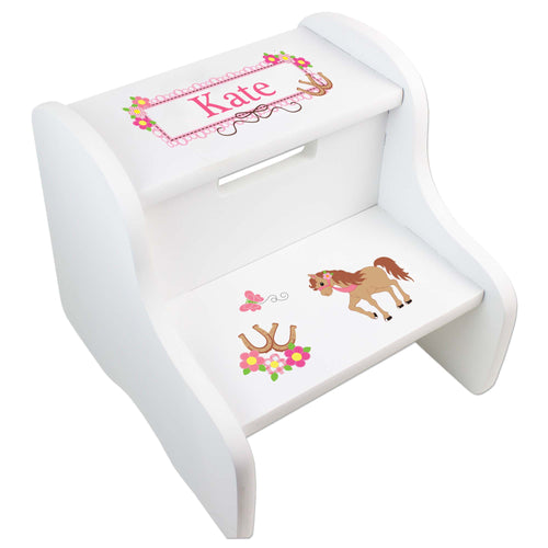 Personalized Ponies Prancing White Two Step Stool