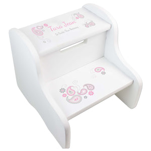 Pink Gray Paisley White Two Step Stool