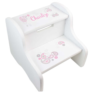 Personalized Paisley Pink Gray White Two Step Stool