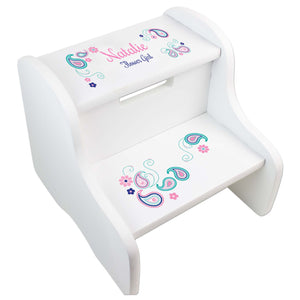 Pink and Teal Paisley White Two Step Stool