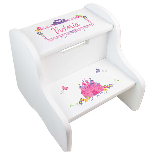 Personalized Princess Castle White Step Stool