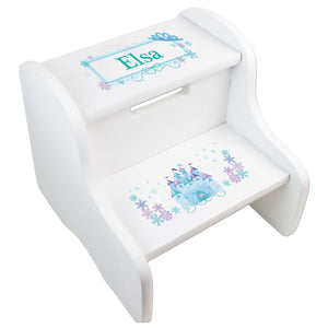 Personalized-Ice Princess Castle White Two Step Stool