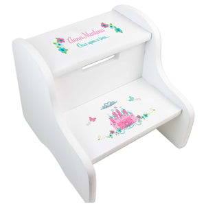 Pink Teal Princess Castle White Two Step Stool