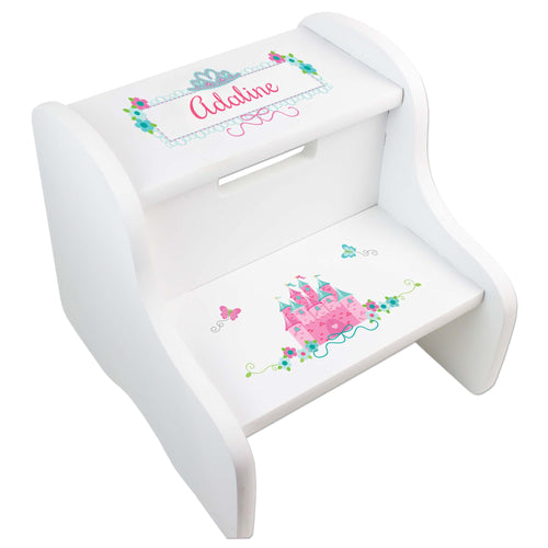 Personalized Pink Teal Princess Castle White Two Step Stool