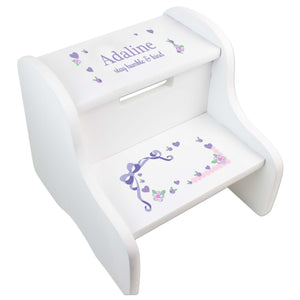 Girl's Lavender Lacey Bow White Two Step Stool