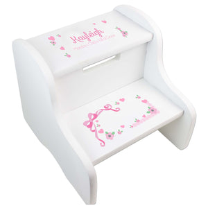 Girl's Pink Lacey Bow White Two Step Stool