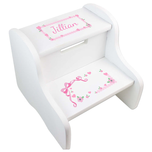 Personalized White Step Stool With Pink Bow Design