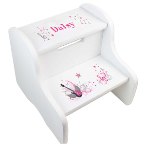 Personalized Pink Rock Star White Two Step Stool