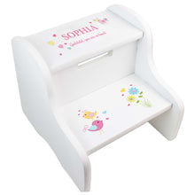 Girl's Personalized Love Birds White Two Step Stool
